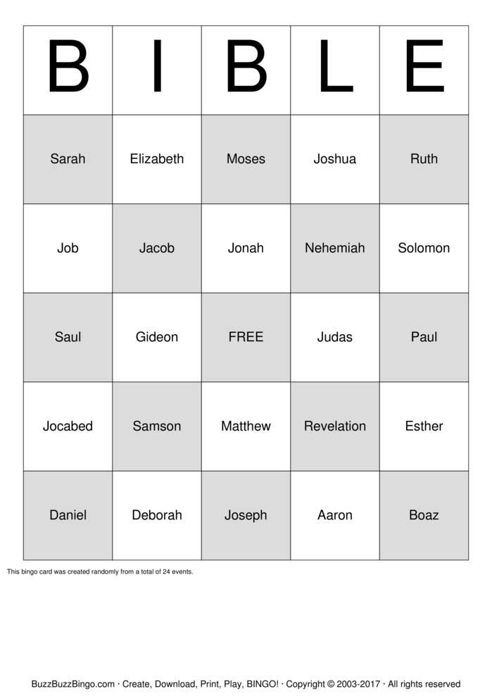 Striking image with free printable bible bingo cards