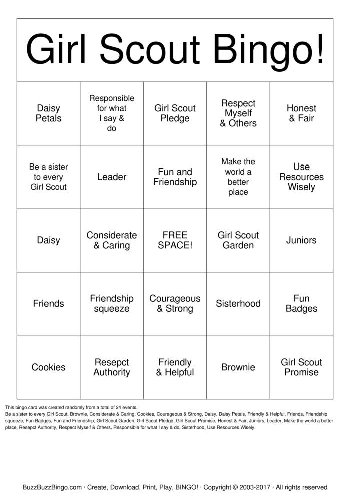 I Am GS Bingo Card