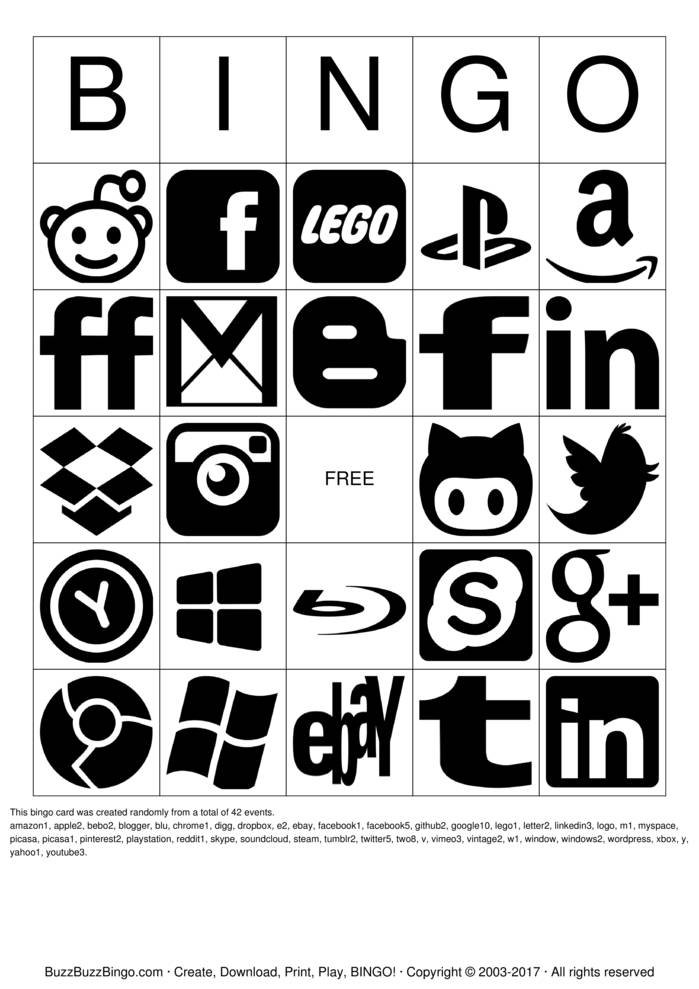 Logo Image Bingo Cards to Download, Print and Customize!