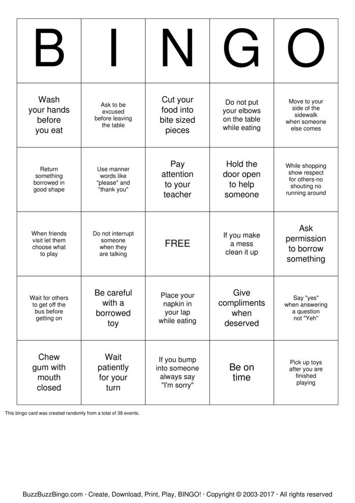 manners bingo cards to print and customize  manners bingo card