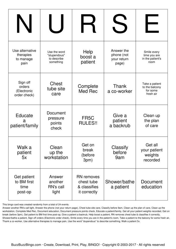 nurse bingo cards to download  print and customize