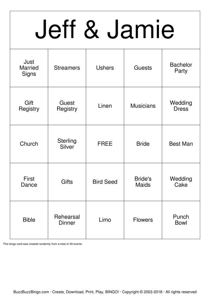 Download Bride & Groom Bingo Cards