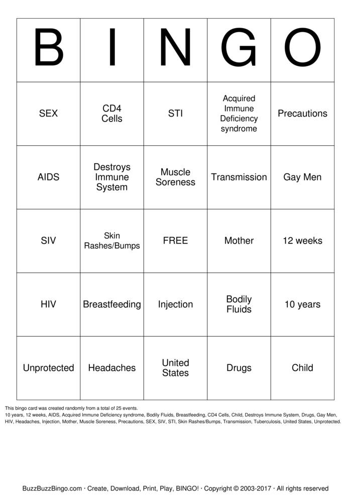HIV  Bingo Card