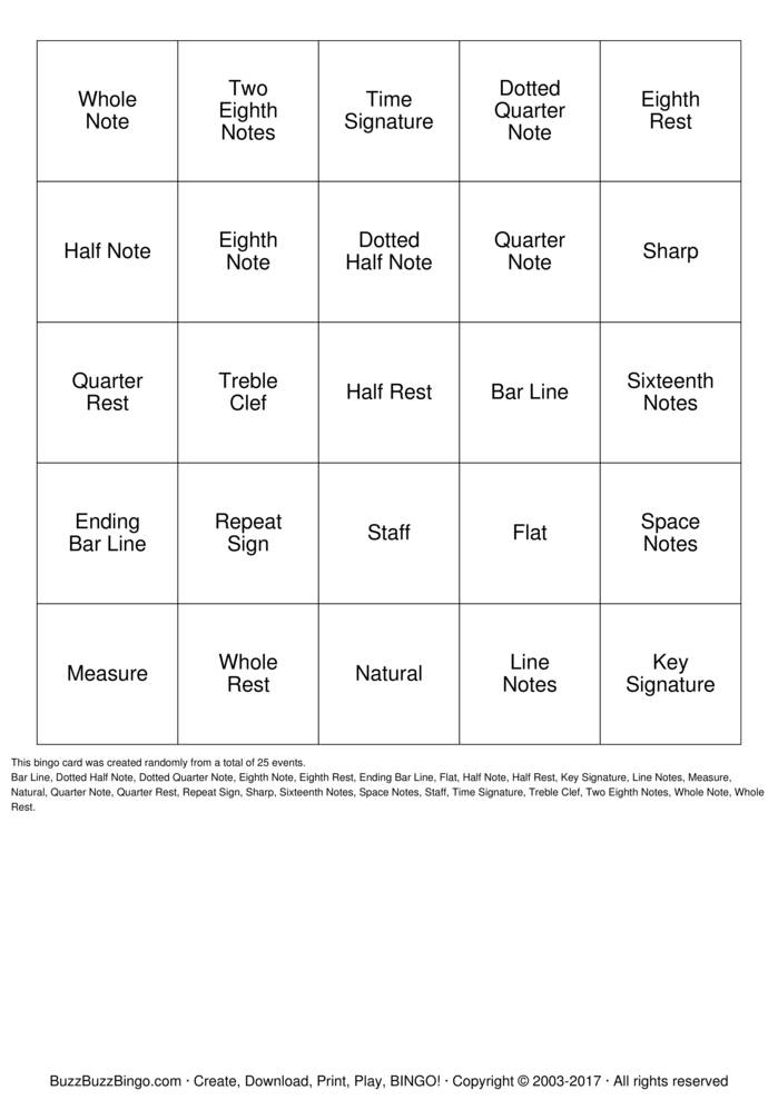 music bingo cards to download  print and customize