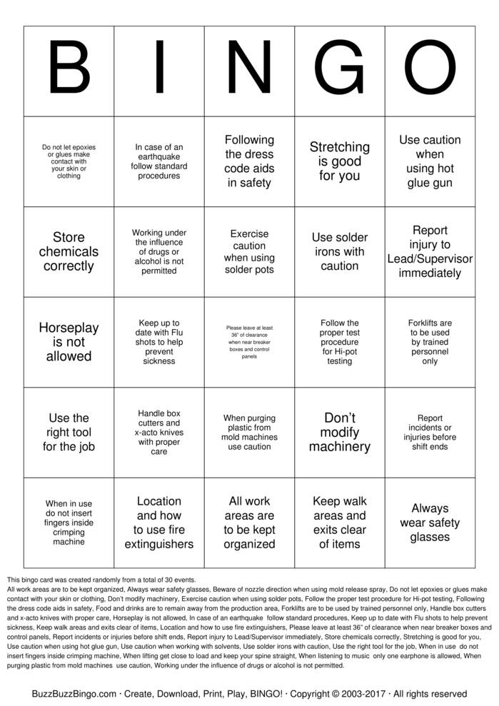 Download Safety Bingo 081516 Bingo Cards