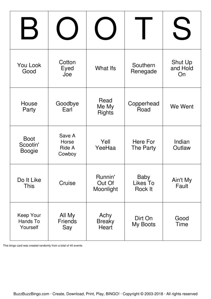 Download Boot Scootin' Bingo Bingo Cards