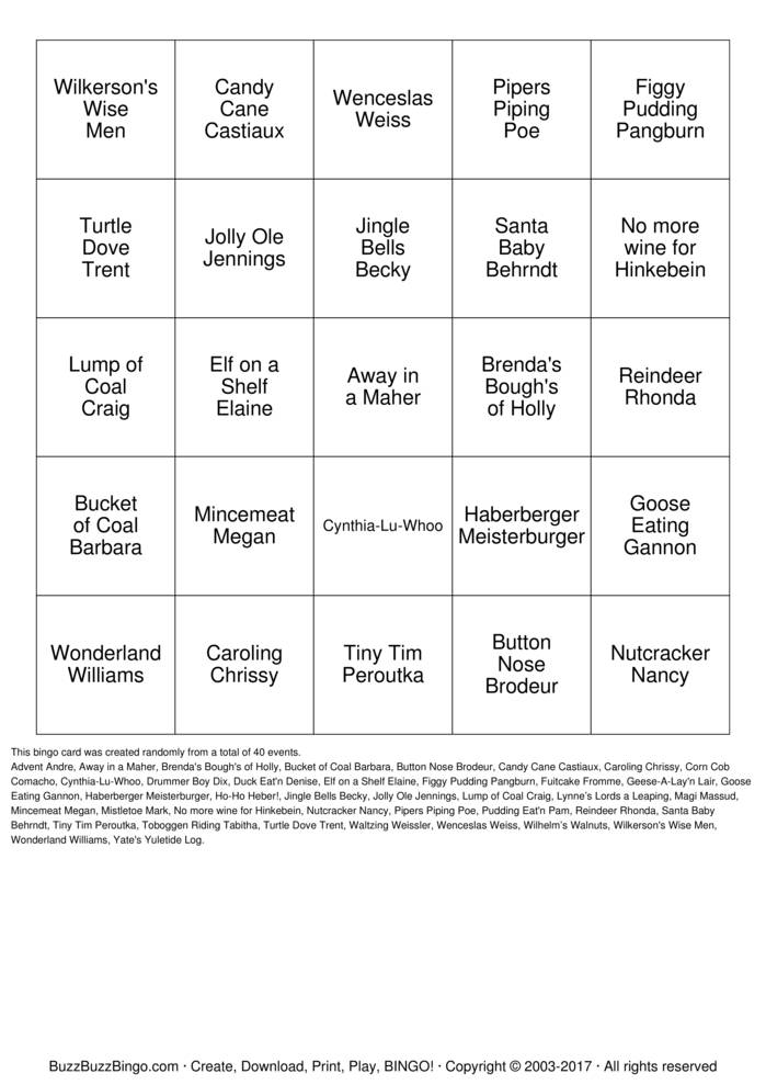 Download HO! HO! HOLIDAY  BINGO Bingo Cards