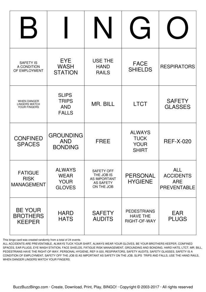 Download Safety Bingo Cards