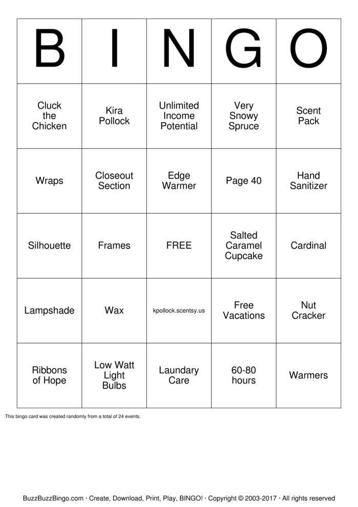 Scentsy Bingo Cards to Download, Print and Customize!