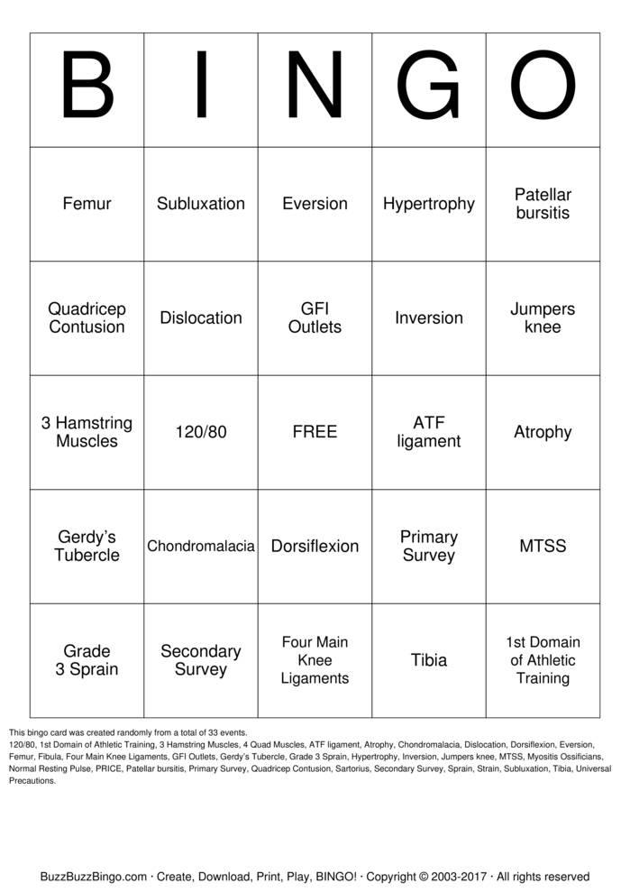 Download Sports Medicine  Bingo Cards