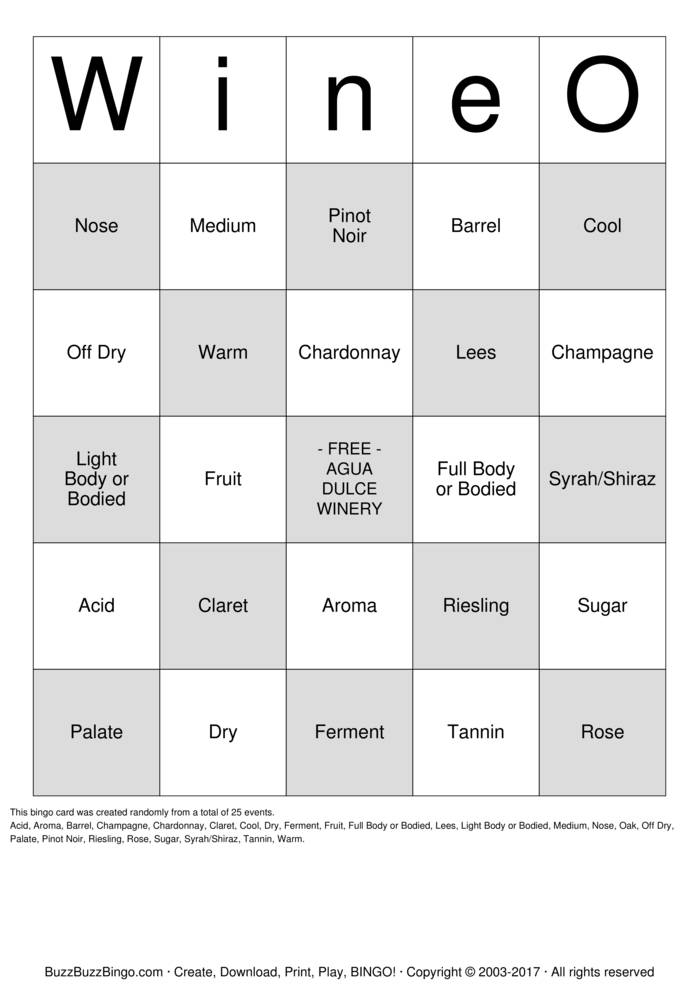 WineO-Bingo Bingo Card