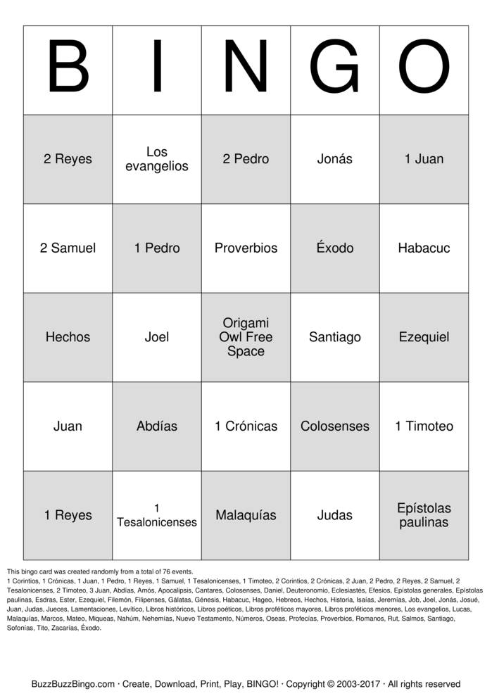 Download La Novia Del Cordero Bingo Cards
