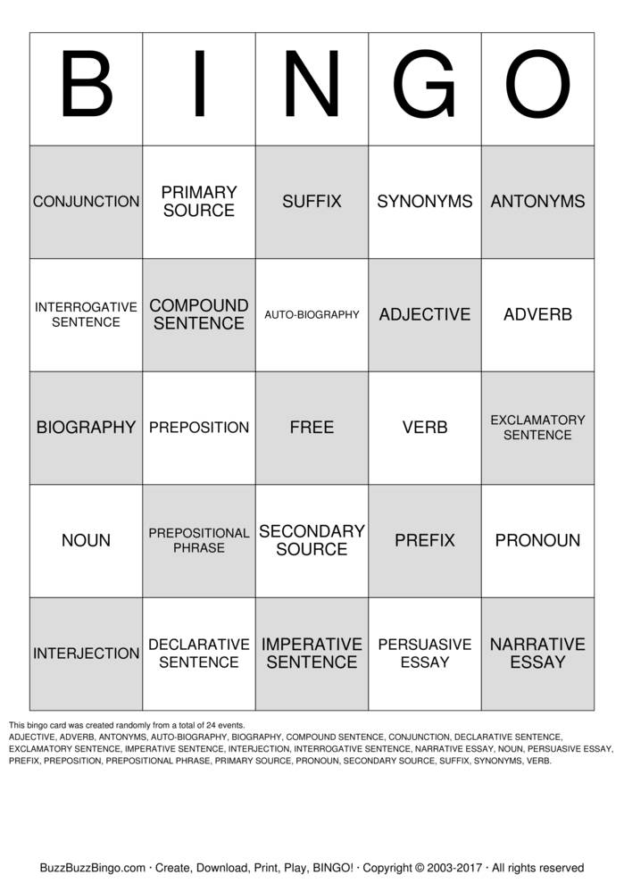 language arts bingo cards to print and customize  language arts bingo card