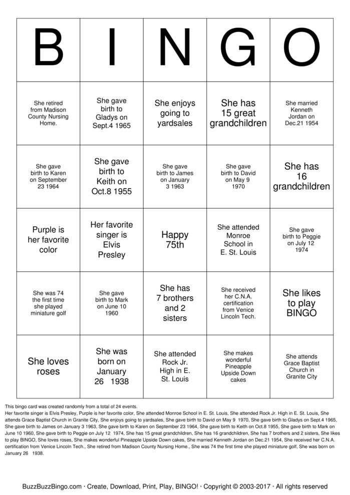 Download Mom's 75th Birthday Bingo Cards