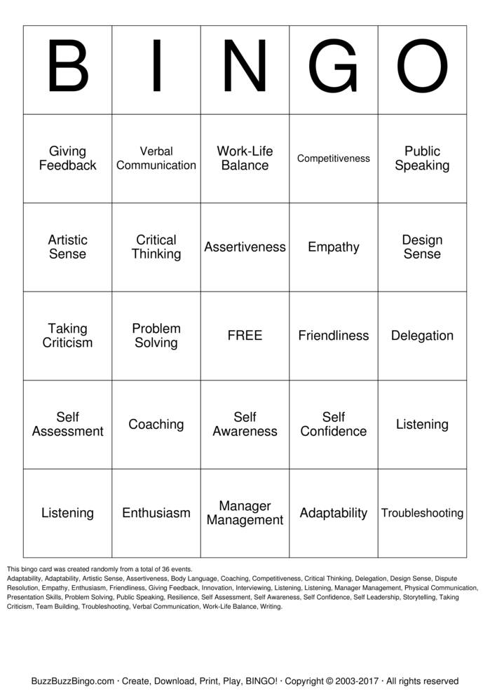 Soft Skills Bingo Cards to Download, Print and Customize!