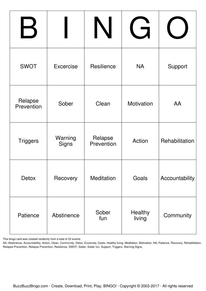 Download Substance Abuse Recovery Bingo Cards