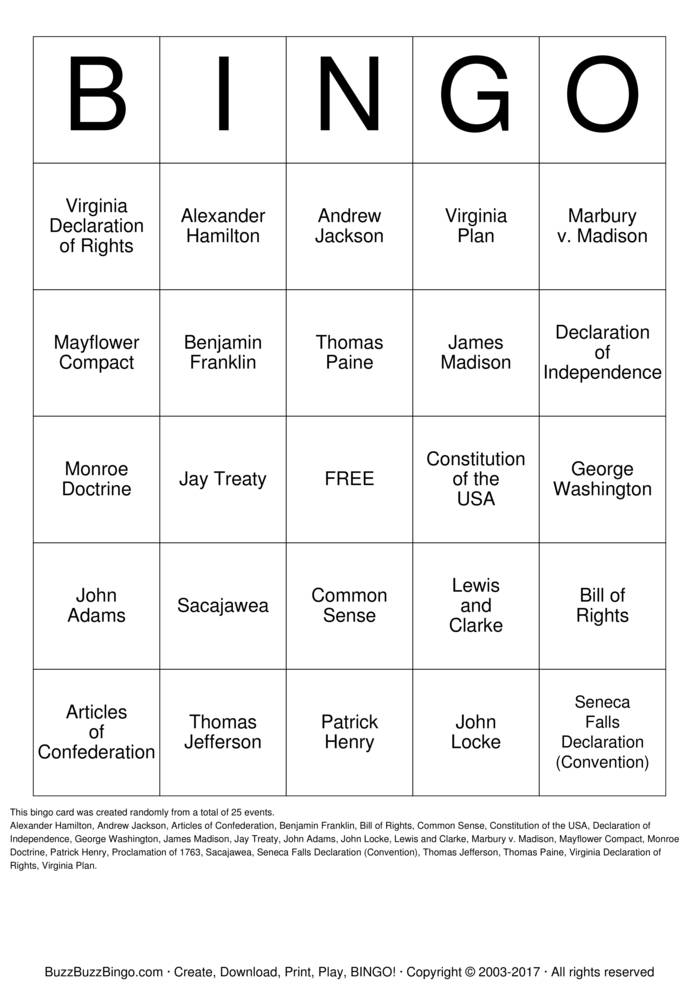 US History Bingo Card