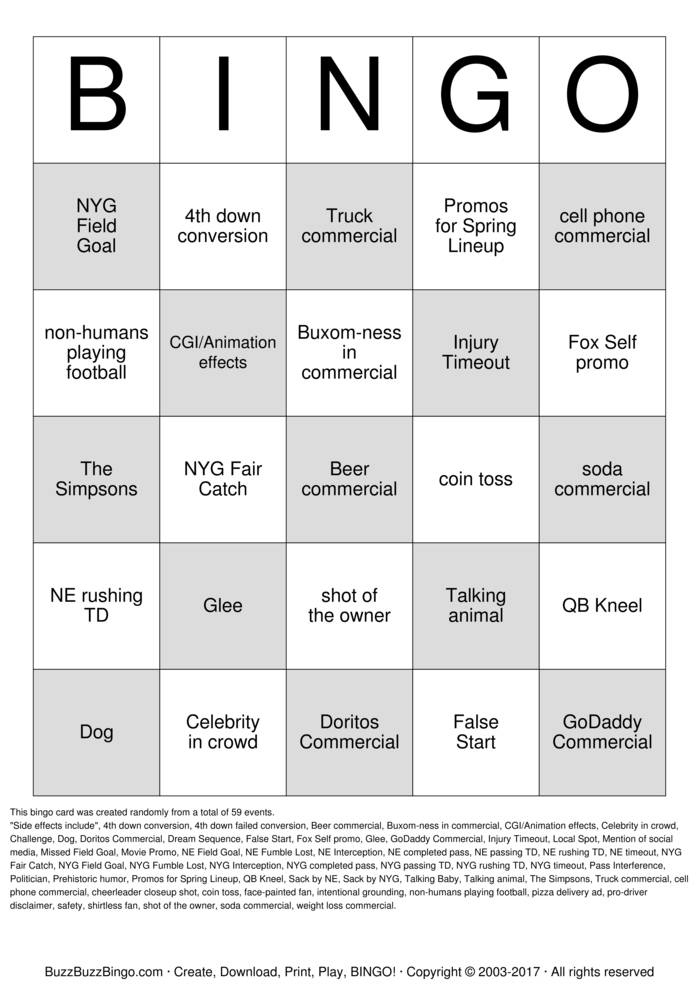 It is a picture of Satisfactory Free Printable Football Bingo Cards