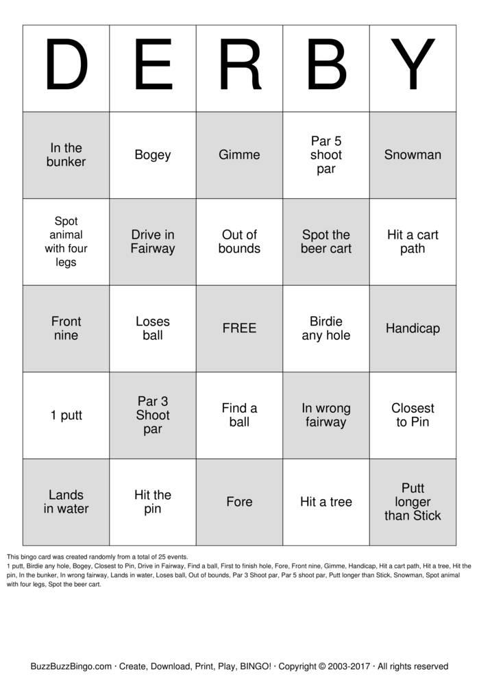 Download Golf Bingo Cards
