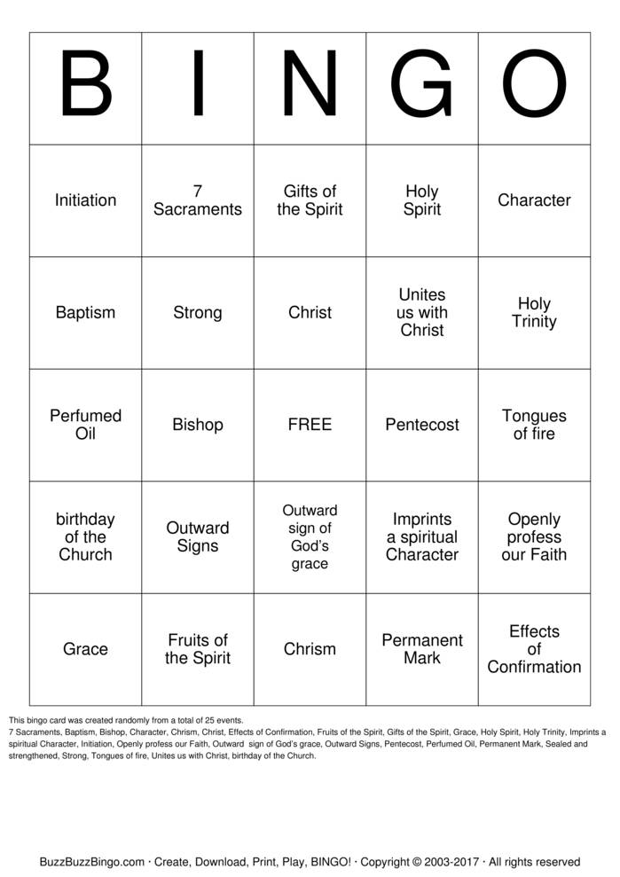 Download holy spirit Bingo Cards
