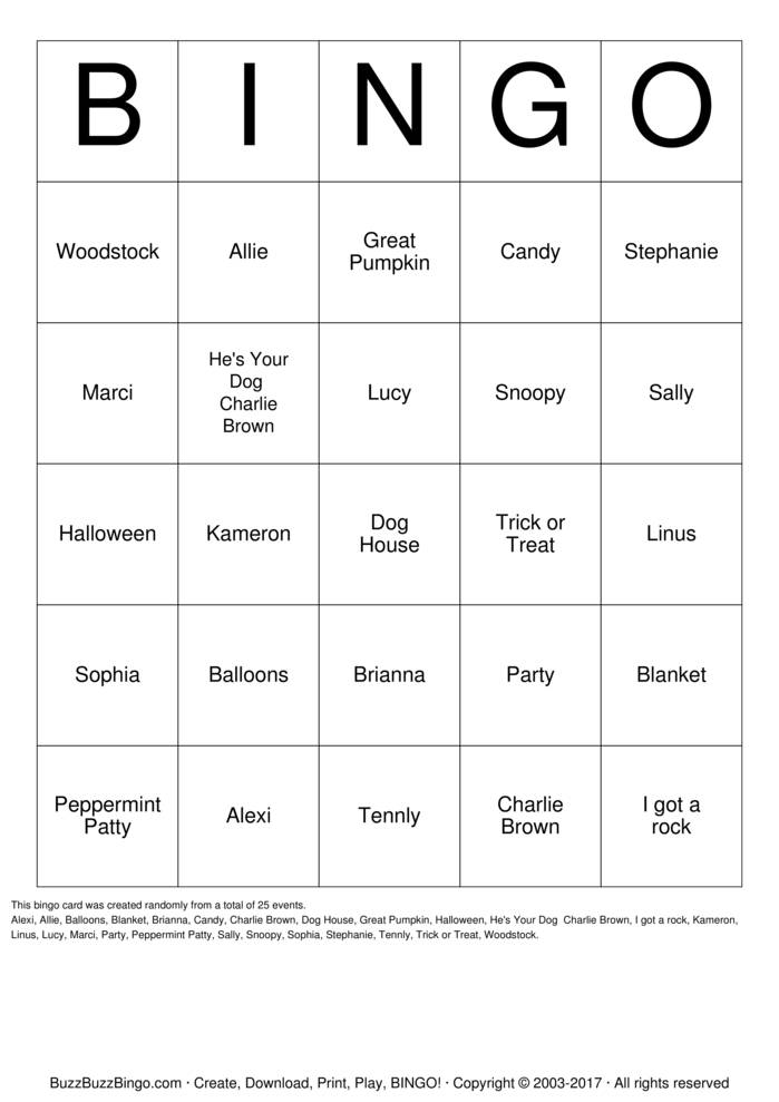 Download Charlie Brown Party Bingo Cards