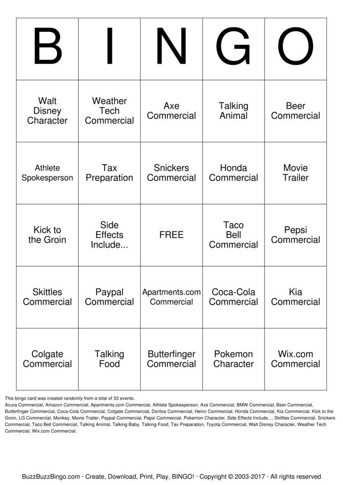 2016 Superbowl Commercials Bingo Card