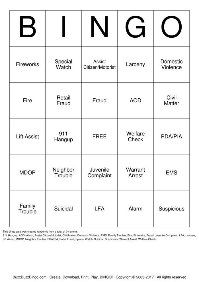 Download 911 Dispatch Bingo Cards