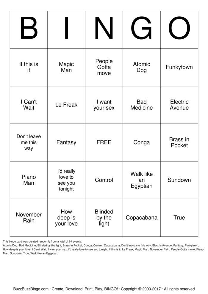 Download 70's & 80's Retro Bingo Bingo Cards