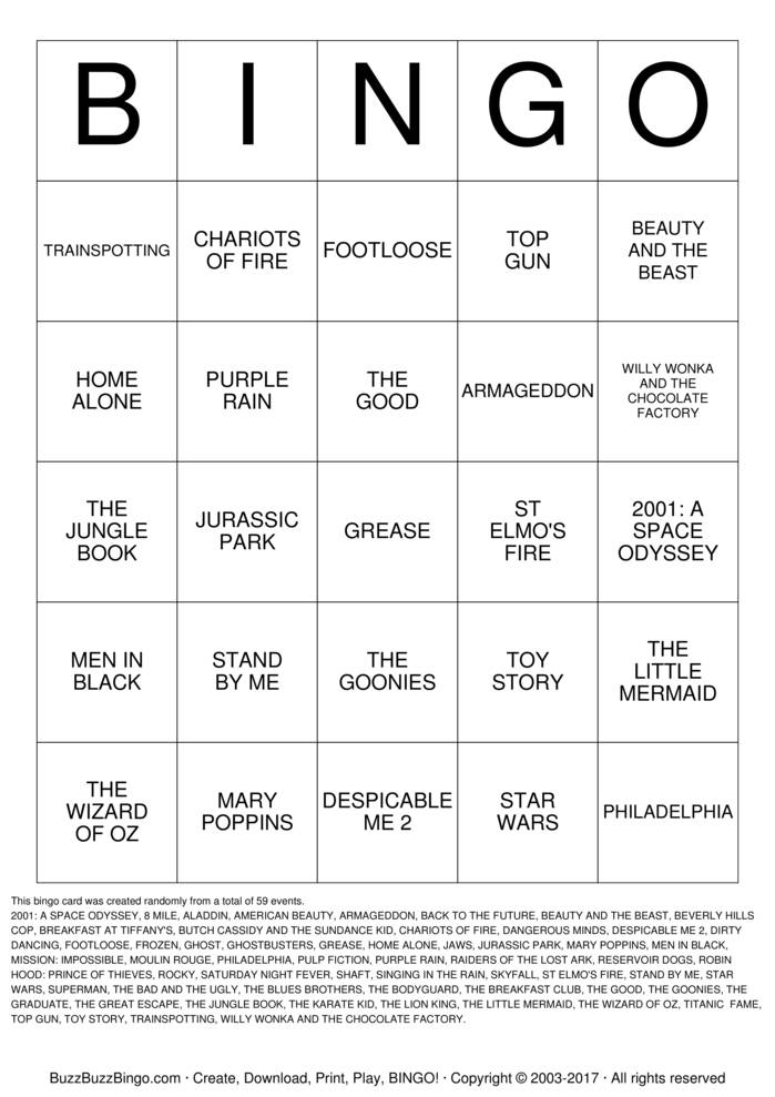 Download MOVIE TUNE BINGO Bingo Cards