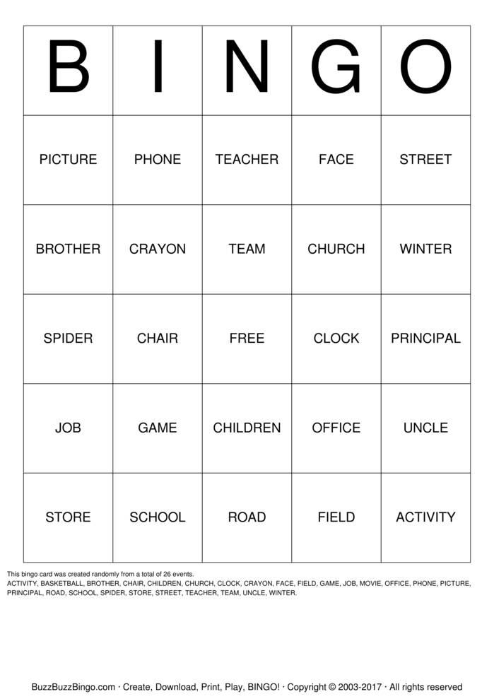 NOUN Bingo Cards   //.buzzbuzzbingo.com/gen.php?IDu003d49359   application/pdf   Game Printable   ACTIVITYBASKETBALLBROTHERCHAIRCHILDRENCHURCH ...  sc 1 st  BuzzBuzzBingo & NOUN Bingo Cards to Download Print and Customize!