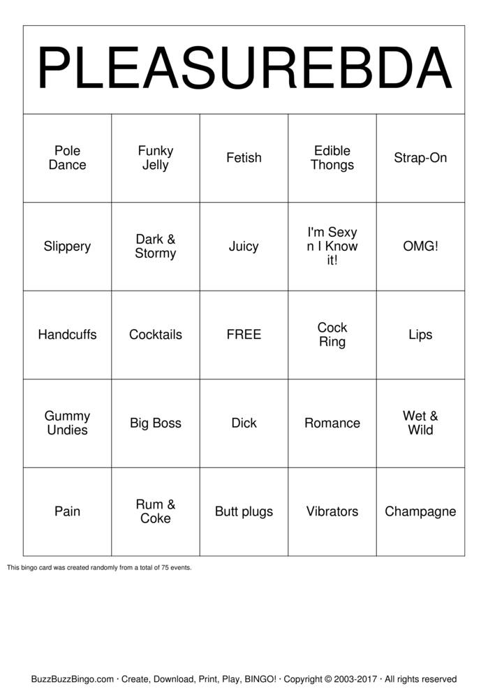 Download PleasureBda Party Bingo Cards