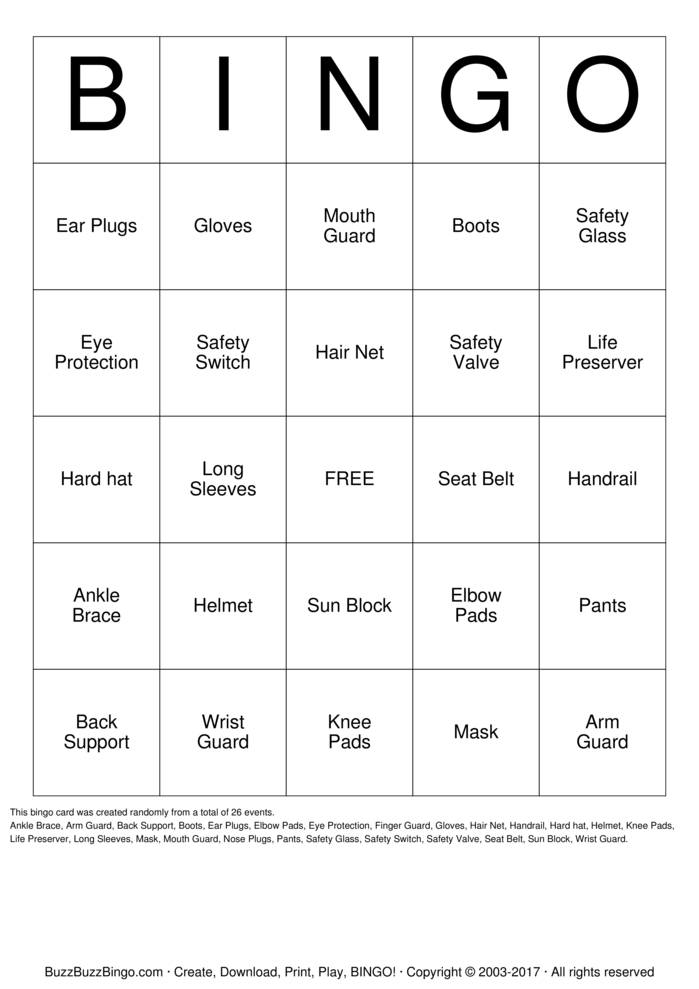 Download Safety Committee Bingo Cards
