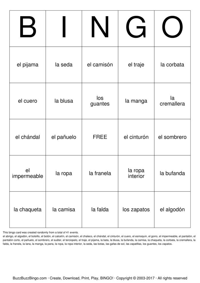 Spanish Clothing Bingo Cards to Download, Print and Customize!