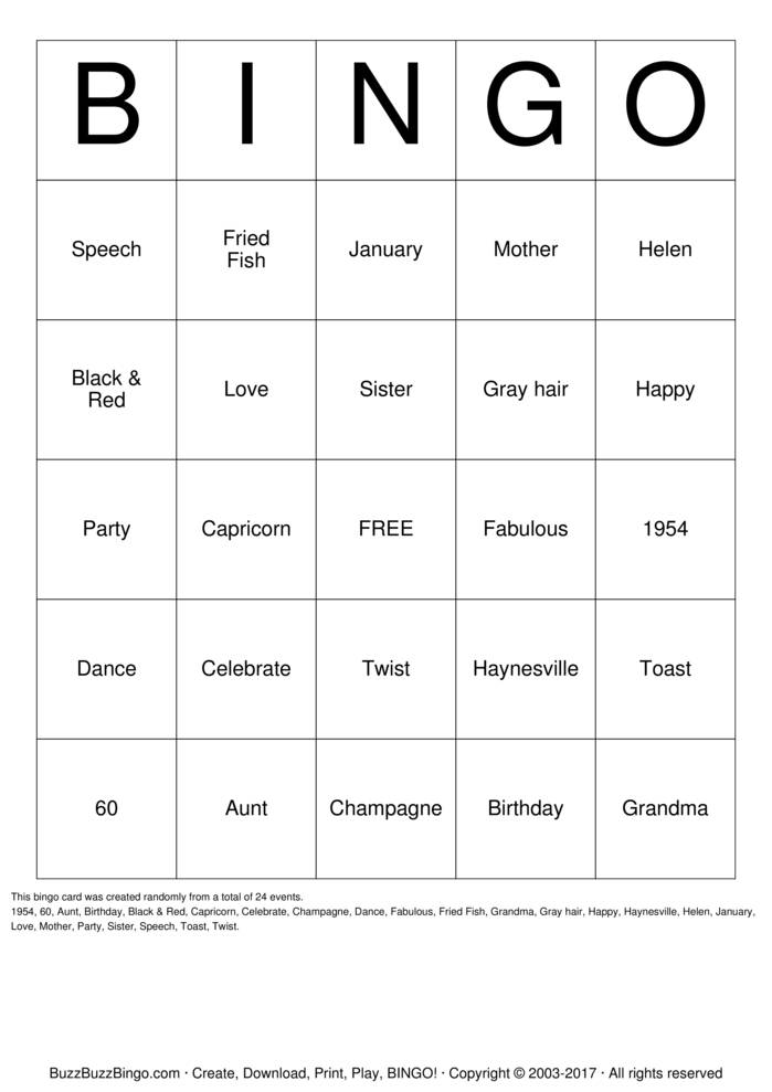 Download  Birthday  Bingo Cards