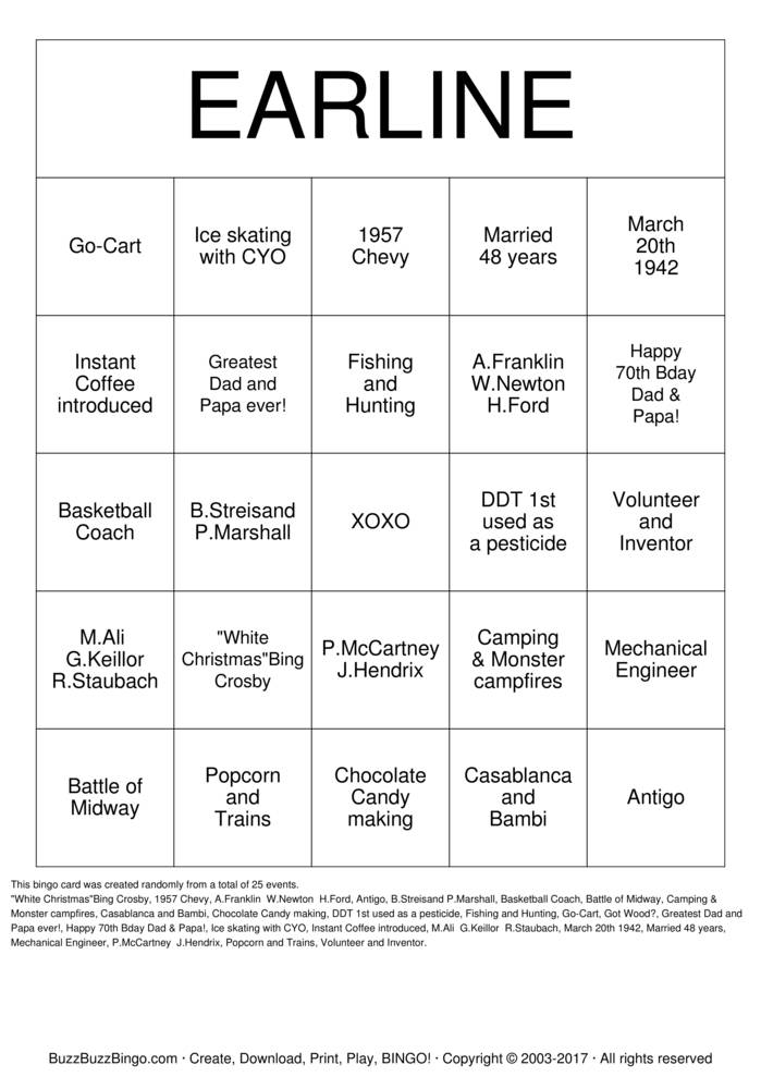 Download Happy 70th Birthday! Bingo Cards