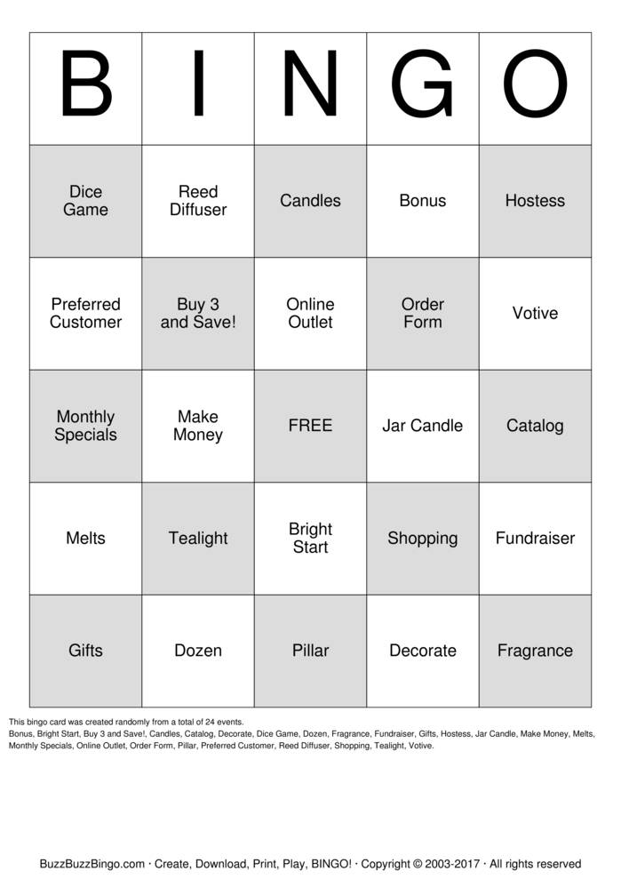 Download PartyLite Bingo Cards
