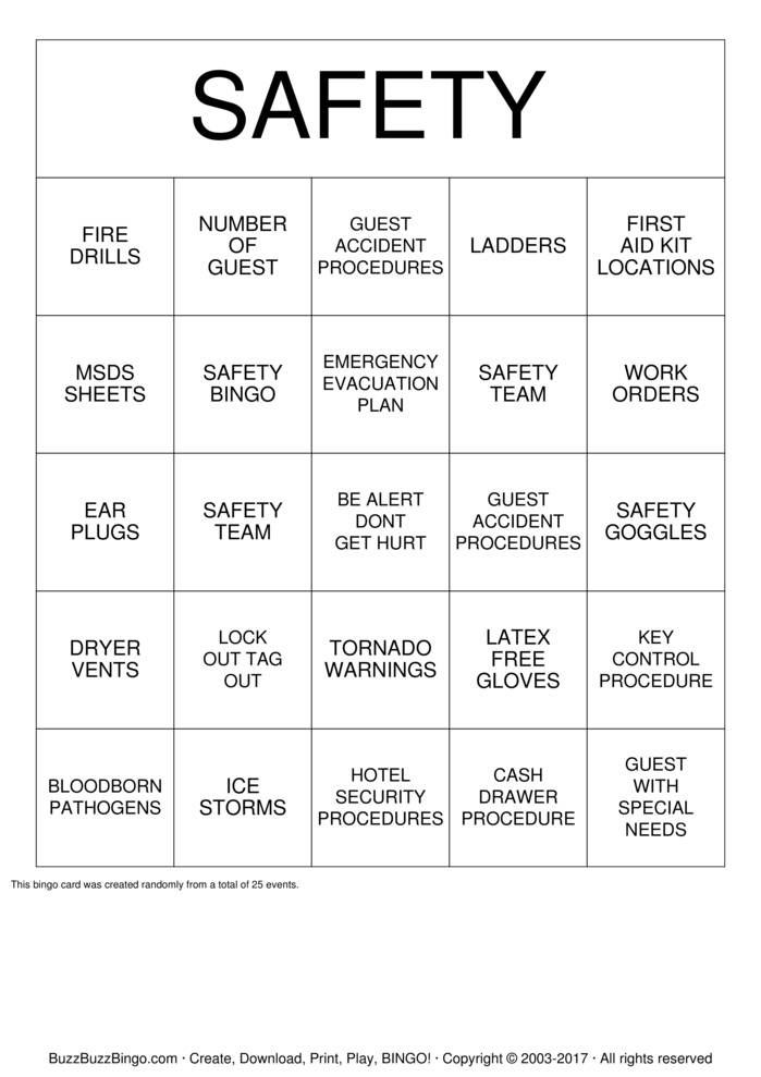 Safety Bingo 2 Bingo Cards To Download Print And Customize