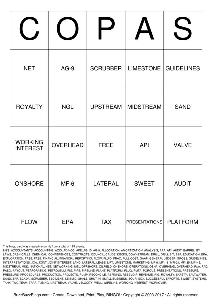 Copas Bingo Cards To Download Print And Customize