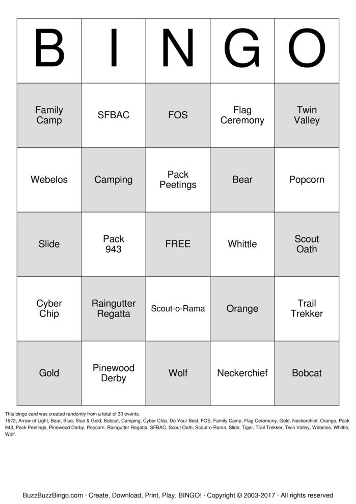 Download Cub Scout Pack 943 Bingo Cards