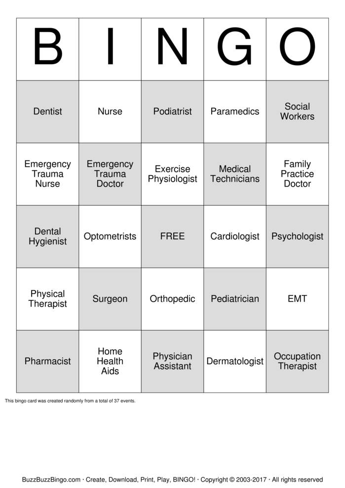 Download Health Care Careers Bingo Cards