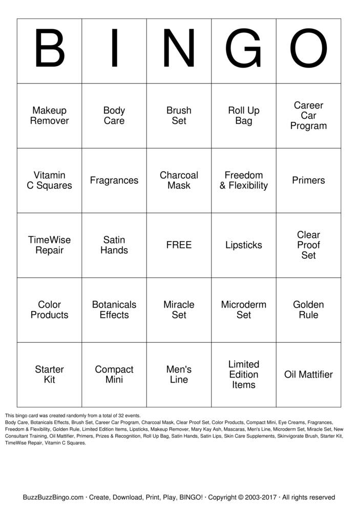 Download Mary Kay Bingo Bingo Cards