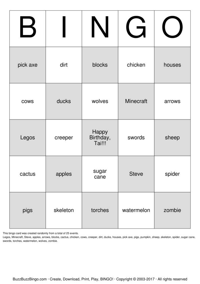 minecraft bingo cards to download  print and customize