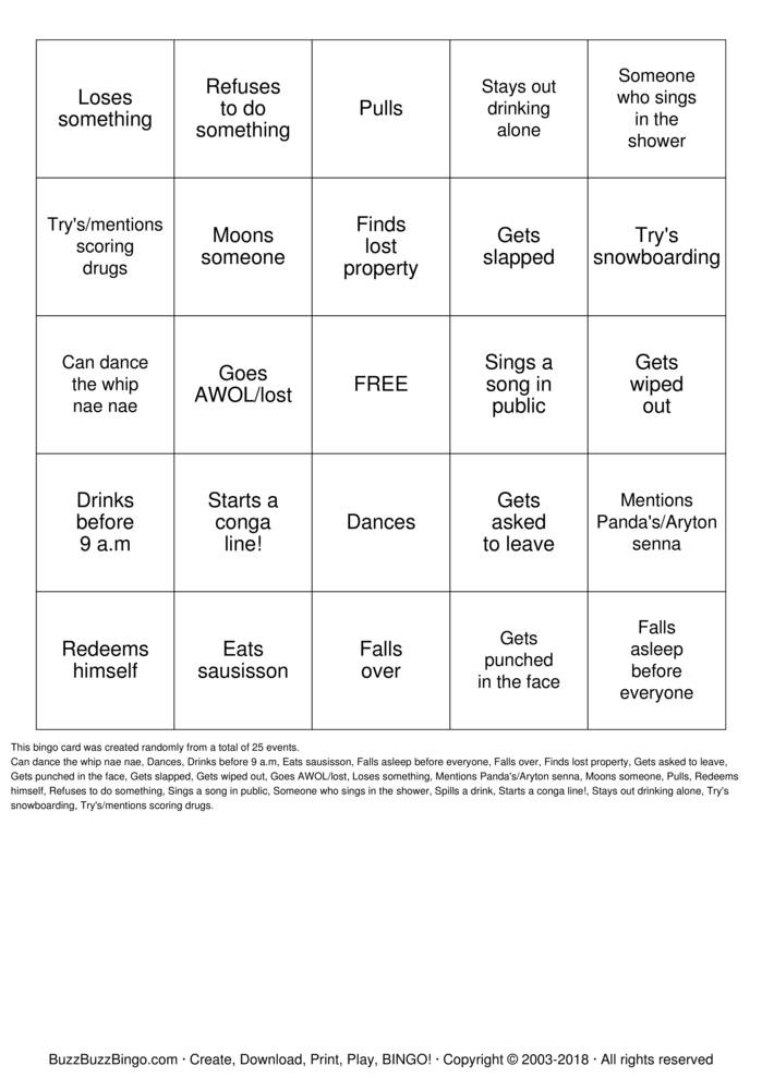 Download SINGO Bingo Cards