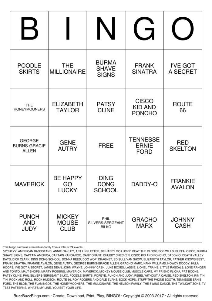 Download FABULOUS 50s Bingo Cards