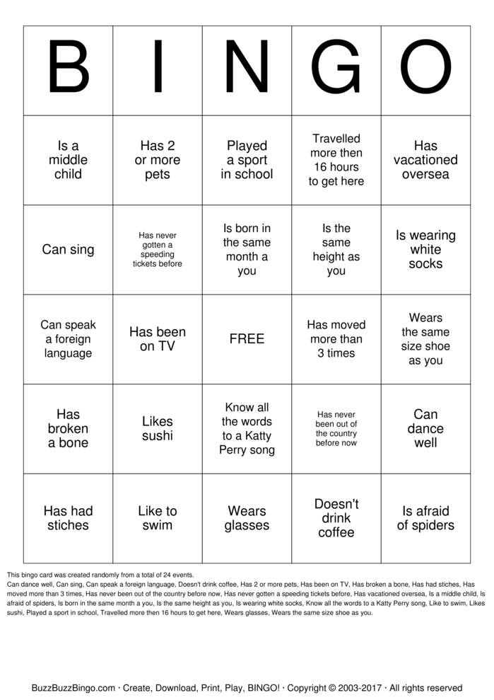 Download Made In... - Getting to know Bingo Cards