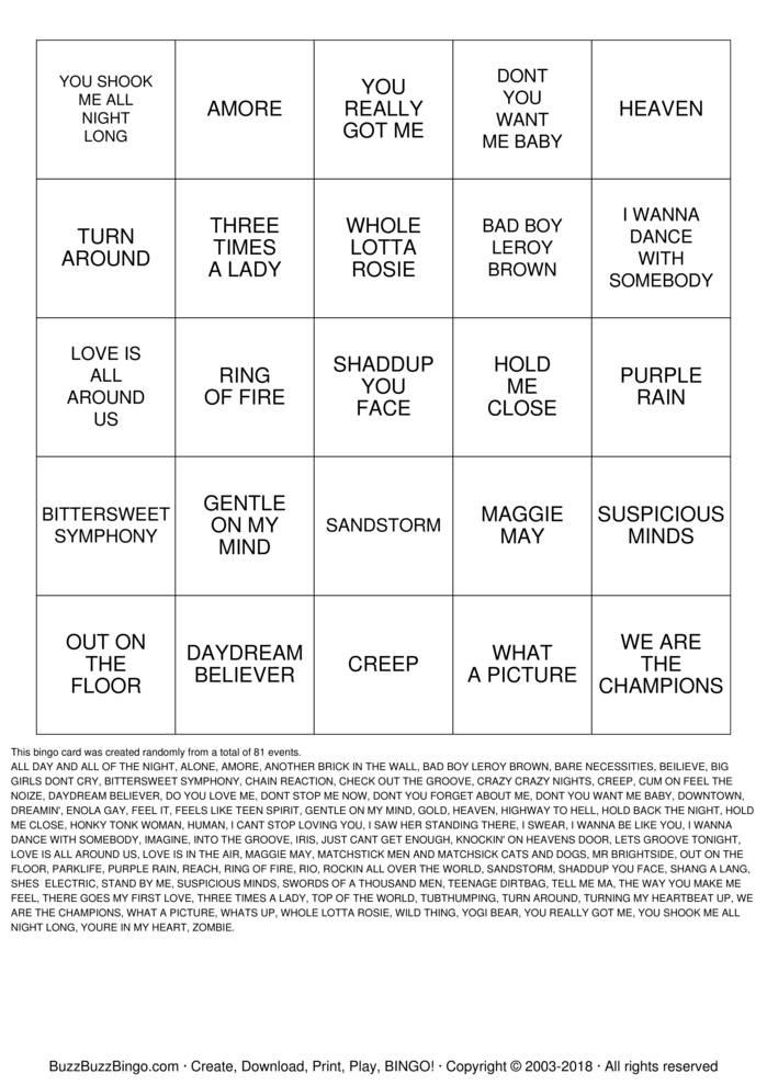Download Rock 'N' Roll Bingo Cards