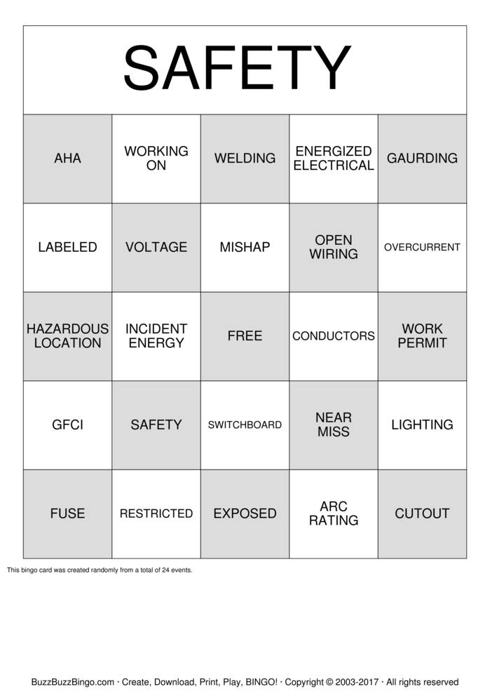 energized electrical work permit template - safety bingo cards to download print and customize