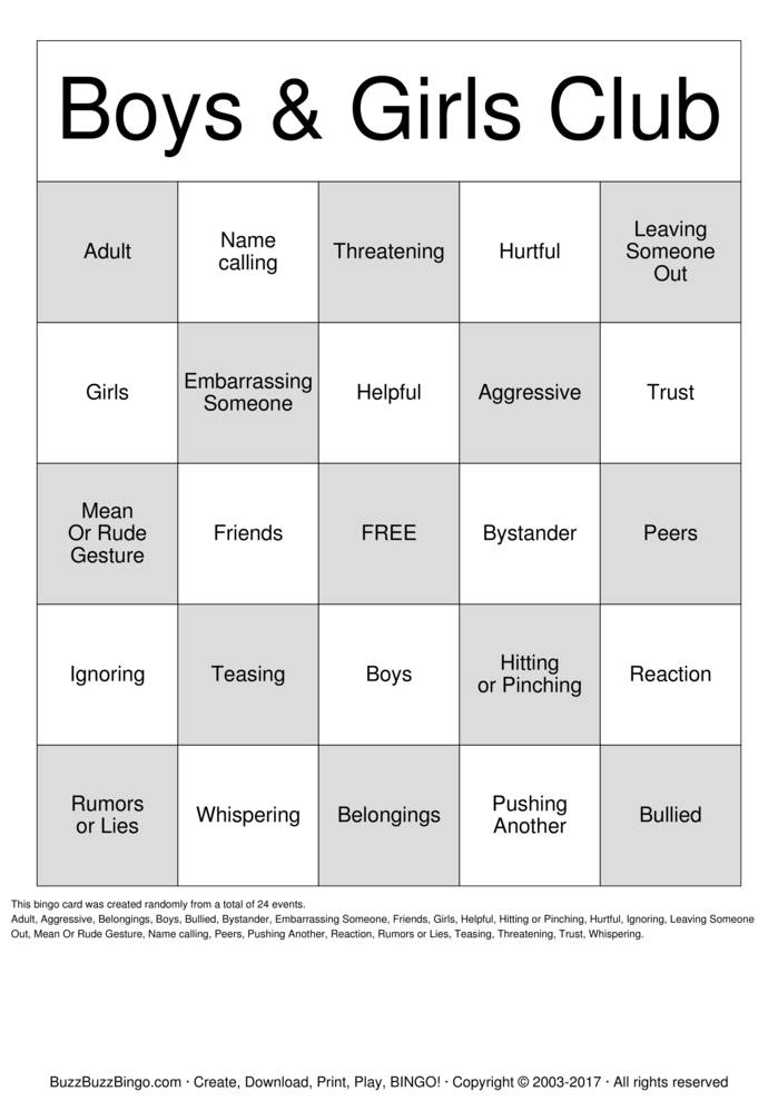 Bully Prevention Bingo Card