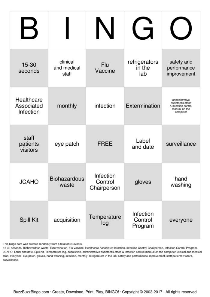 Infection Control Printable Worksheets : Infection control bingo cards to download print and