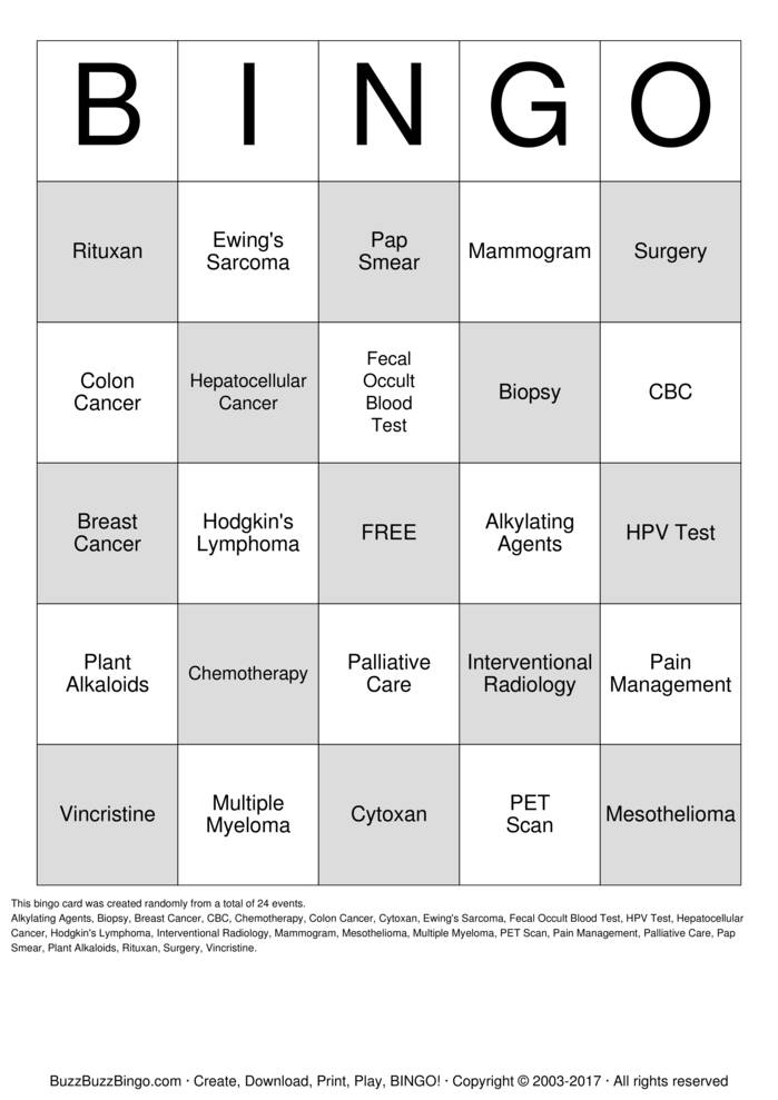 Download KP MS Oncology  Bingo Cards
